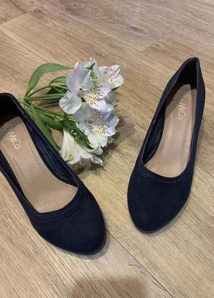 Темно-синие туфли на платформе