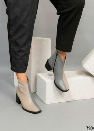 Кожаные ботильоны натуральная кожа женские ботинки на каблуке
