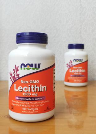 Соевый лецитин Now Foods, Lecithin, 1200 mg, 100 гелевых капсул