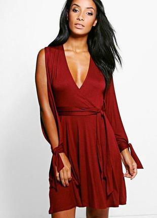 Новое платье винного цвета с разрезами на рукавах boohoo 🍷 бор...
