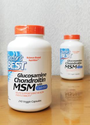 Глюкозамин, хондроитин, МСМ, OptiMSM, Doctors Best, 240 капсул