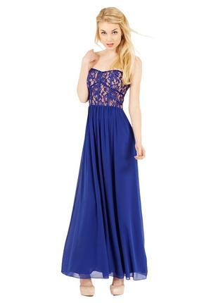 Вечернее платье в пол ярко-синего цвета oasis шикарное синее п...