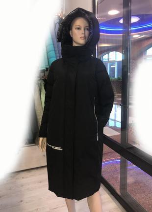 Стильный молодежный зимний пуховик пальто max mara р. 46-48-50-52