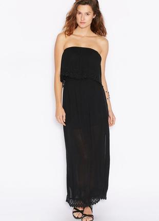 Легкое платье в пол из крэш ткани miss selfridge летний черный...