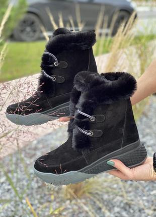 Натуральная замша! зимние ботинки, сапоги с натуральным мехом