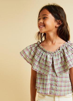 Хлопковый топ в разноцветную клетку zara kids блузка с оборкой...