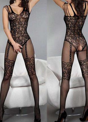 Сексуальный комбинезон сетка черного цвета