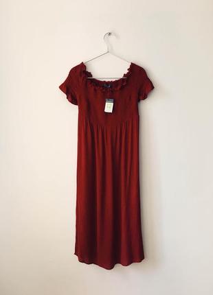 Новое винное платье миди из жатой ткани primark бордовый сараф...