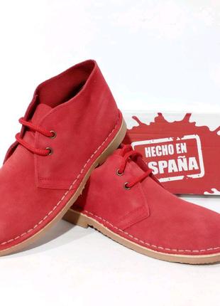 Красные демисезонные ботинки для женщин. Натуральная замша. 35-41