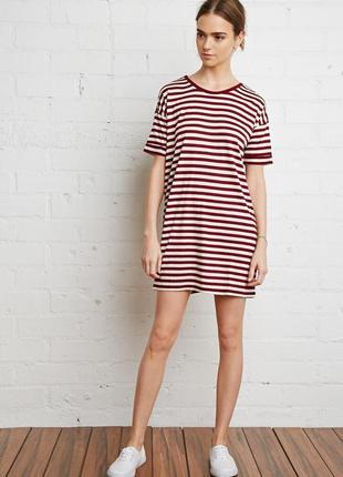 Платье-футболка в бордовую полоску forever 21 petite полосатое...