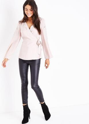 Новая нюдовая блузка с вышивкой new look стильная бежевая блуз...