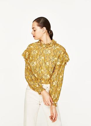 Горчичная блузка с оборками на плечах zara укороченная желтая ...