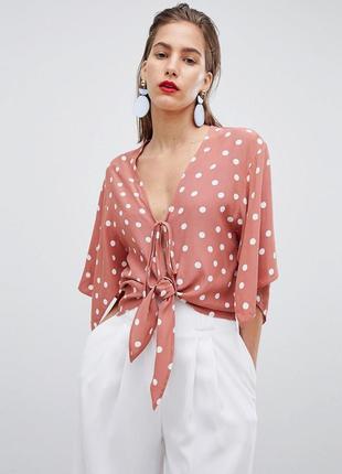 Актуальная терракотовая блузка в горошек с рукавами кейп asos ...