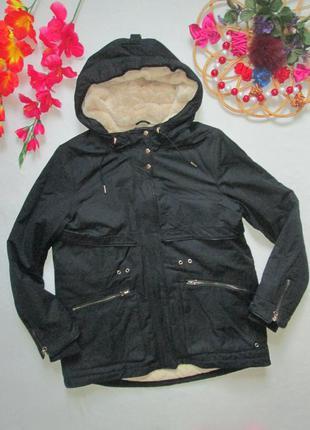 Шикарная черная теплая на меху куртка парка с капюшоном zara о...