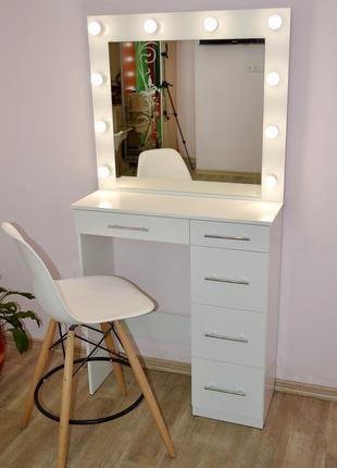 Гримерный стол под барный стул зеркало с лампочками подстветкой