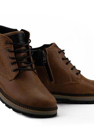 Мужские ботинки кожаные зимние рыжие
