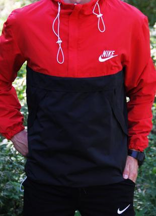 Анорак Nike wallaby красно-черный