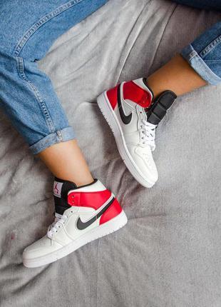 Кросівки nike air jordan 1 mid white black gym red кроссовки