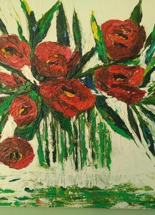 "Картина маслом "" Бархат роз на холодном белом.."""