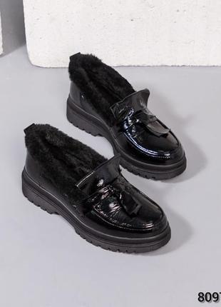 ❤ женские черные кожаные зимние лоферы  ❤