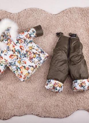 Зимний детский костюм куртка комбинезон