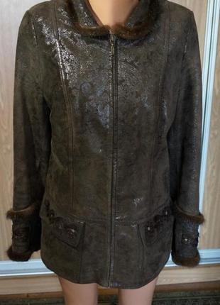 Шикарная куртка на синтепоне,натуральная кожа,натуральный мех ...