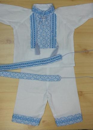 Костюм Вышиванка нарядный для крещения 62,68,74