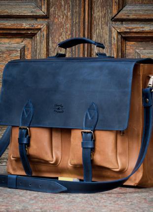 Деловой кожаный мужской портфель. Офисная мужская сумка.