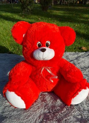 Мягкий плюшевый мишка 80см красный с бантиком. Плюшевый подарок
