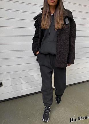 Утепленный костюм оверсайз на флисе джоггеры, худи 💣