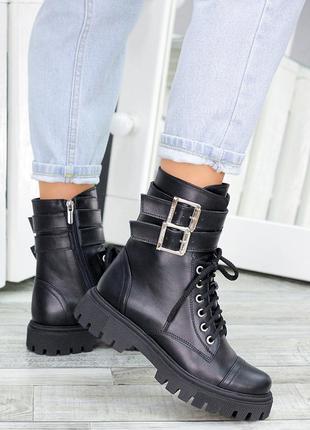 Кожаные женские ботинки берцы натуральная кожа