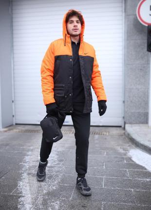 Зимняя мужская парка Найк (Nike) + утепленные штаны