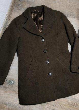 Шерстяное пальто бойфренд цвета горький шоколад