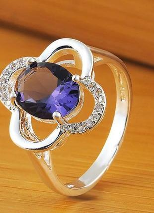 Кольцо покрытие серебро камень цирконий