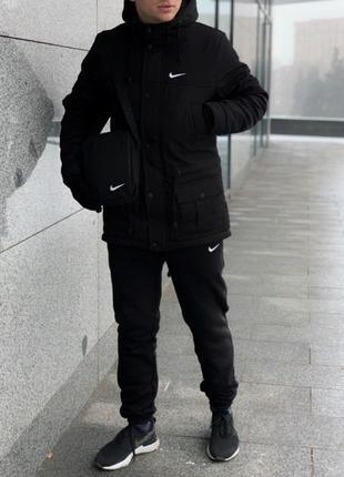 Парка Nike Зимняя мужская оранжевая черная красная синяя куртк...