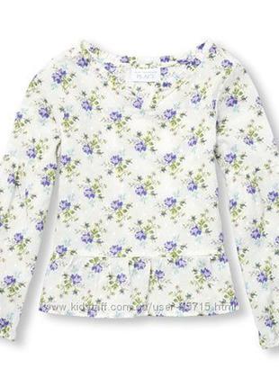Хлопковая тонкая блузка childrens place. размеры от 5 до 14 лет