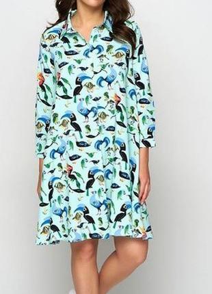 Свободное платье-рубашка в цвете тифани бирюзовое мятное принт...