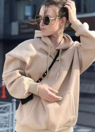 Новый худи свитшот мягкий в карамельном цвете коричневый оверс...