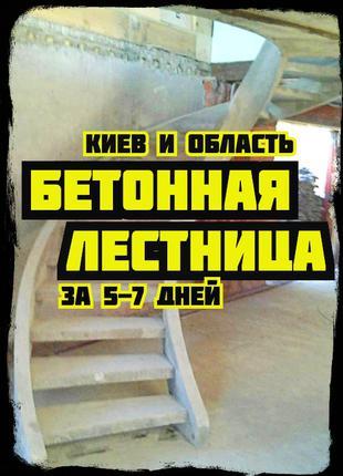 Бетонная лестница под ключ • Прямая • Винтовая • С площадкой
