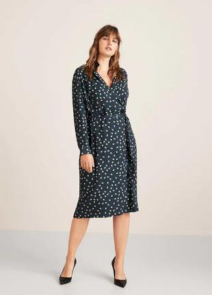Принтованное платье с запахом mango violeta плюс размер - s, m, l