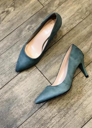 Изумрудные зеленые оливковые лодочки туфли/каблук 6 см
