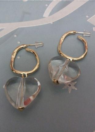 Сережки сердце вишня прозрачные