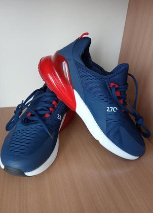 Мужские кроссовки nike air max 270 синие с красным задником. р...