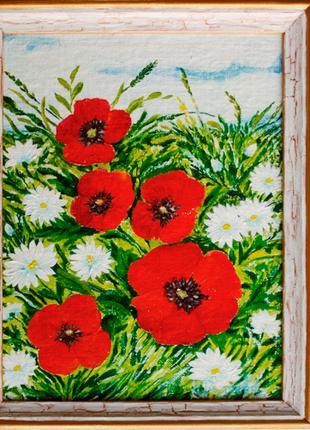 "Картина ""Маки и ромашки"" (цветы), 20х26 см, масло, холст"