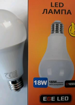 Лампа светодиодная 18вт,лед лампочка,EGE LED,Белый свет цвет,Е27
