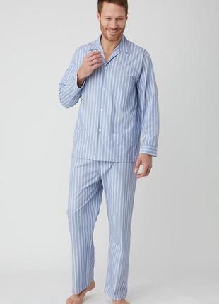 Пижама мужская полоска хлопок голубая