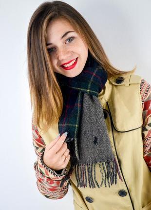 Polo ralph lauren двусторонний шерстяной шарф (серый/зеленый в...
