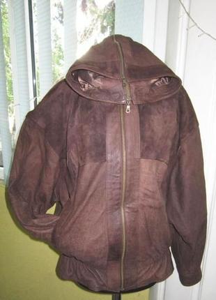 Женская кожаная куртка с капюшоном echtes leder. германия. лот...