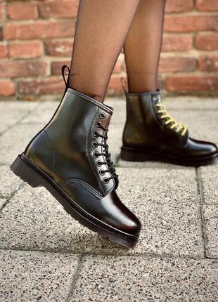 Шикарные кожаные ботинки сапоги dr. martens chelsea black унис...