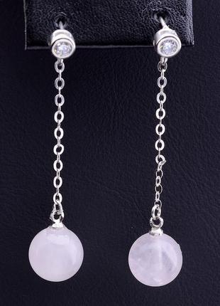 Серьги 'sunstones' розовый кварц серебро(925) 0790390